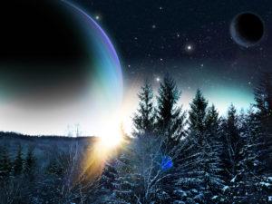 Snow on an alien planet / scifi short story Bearadise Lodge